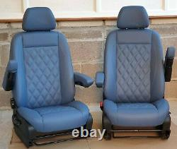 Mercedes Sprinter/VW Crafter Van Seats 2006-17 REAL LEATHER DOUBLE ARMRESTS