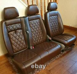 Mercedes Sprinter/VW Crafter Van Seats 2006-18 REAL LEATHER DOUBLE ARMRESTS